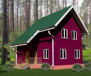 Проект-1. Дом из бруса 6×8, полтора этажа.