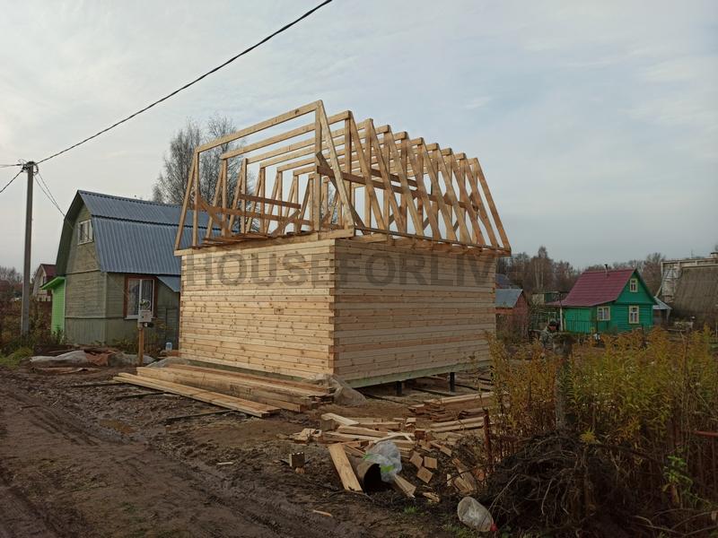 Строительство дома 6х6 из бруса.
